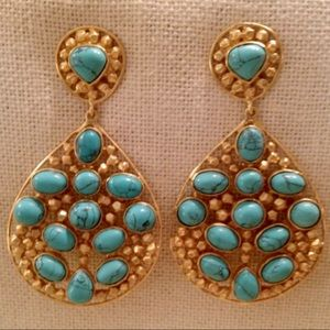 Mint Julie Vos Statement Turquoise Dangle Earrings